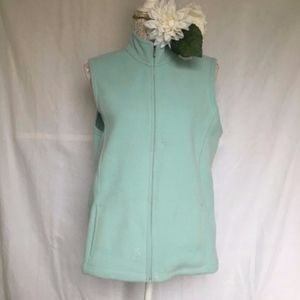 LL Bean // Mint Blue Zip Up Polartec Fleece Vest